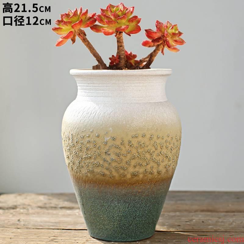 New Korean gradient rainbow basin fashion simple coarse pottery met air suction running the flowerpot mage basin