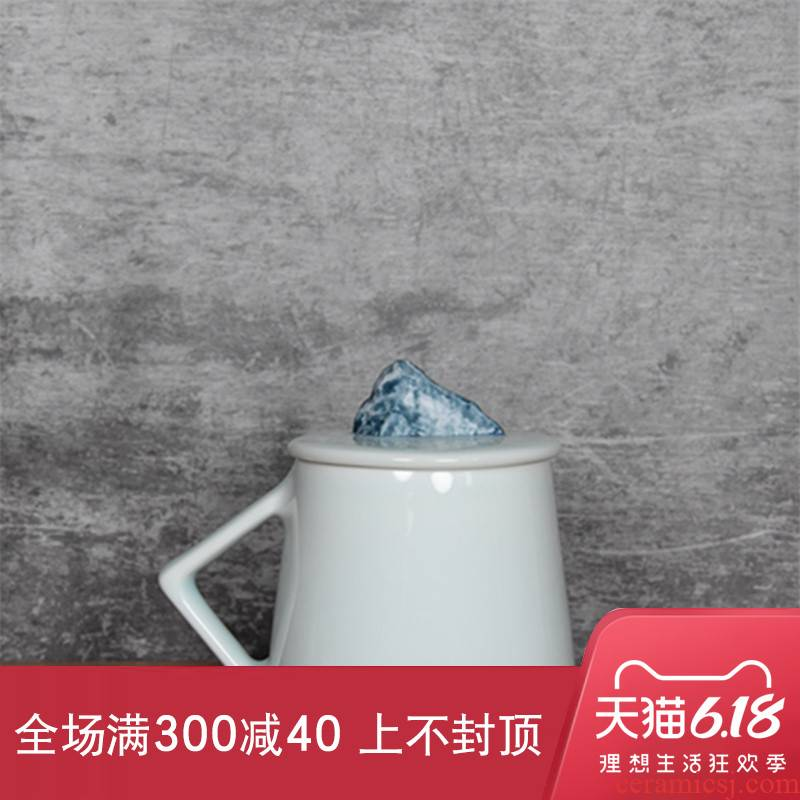 Pure manual white porcelain green shadow mark cup creative hill mugs zen tea cups with cover hand made coffee cup