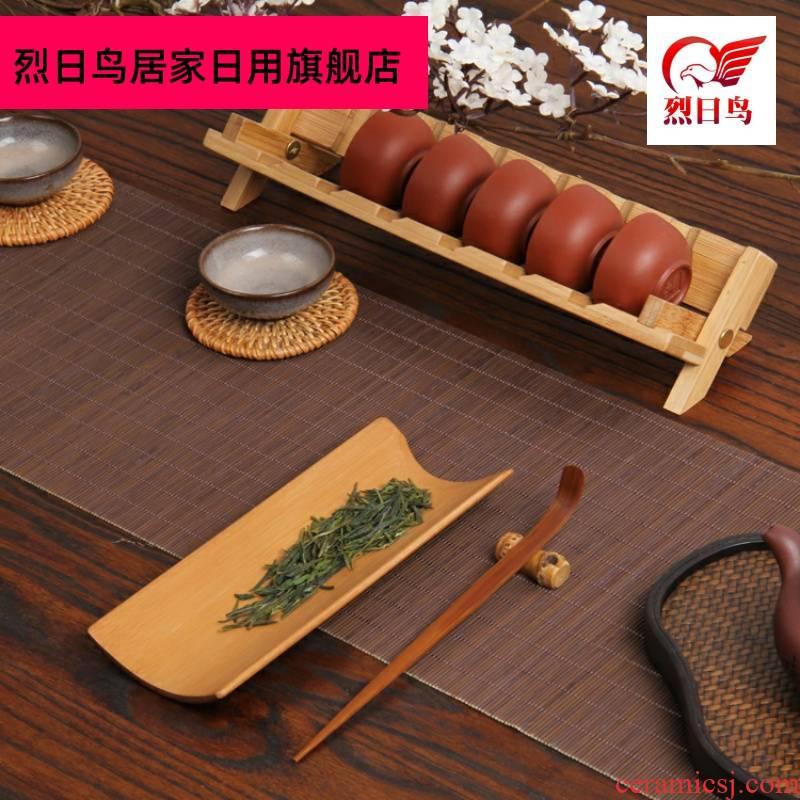 Bamboo tea three - piece ChaZhen tea spoon teaspoon of tea is pure manual tea holder tea set accessories