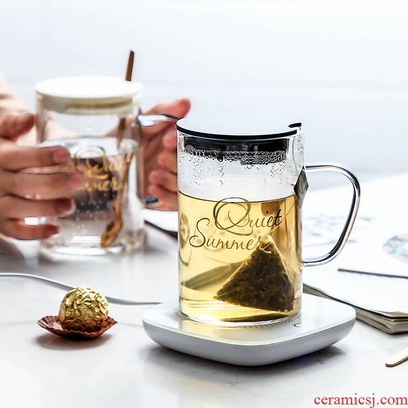 Tea juice household glass base to the as thin transparent glass milk sitting room suit constant temperature heating glass cup