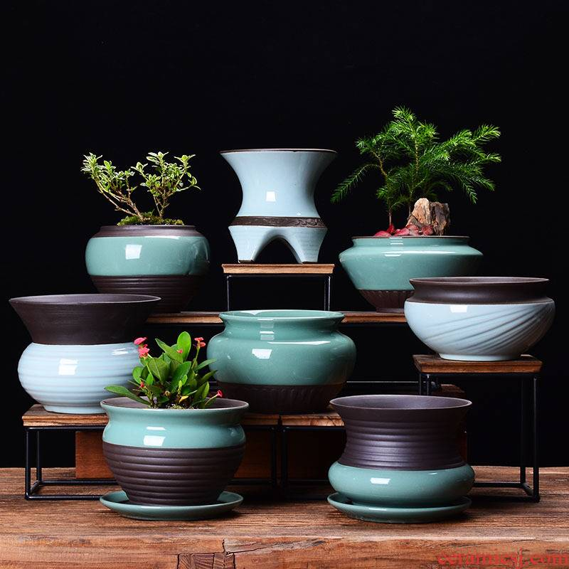 Creative ceramic flower POTS with tray was contracted household basin grow rich tree orchids dedicated desktop green plant pot