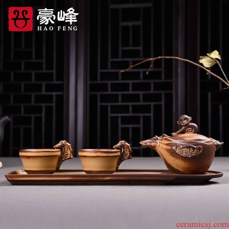 HaoFeng clay pot of two cups of a dry tea set tea service of a complete set of kung fu tea set ceramic gift set tea service