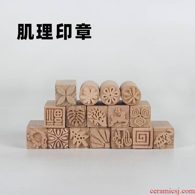 Ceramic tool diy craft wood texture texture seal stamp printing creative pinch clay clay its