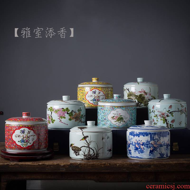 Jingdezhen ceramic tea pot seal moisture puer tea storage jar large tea snack jars with cover