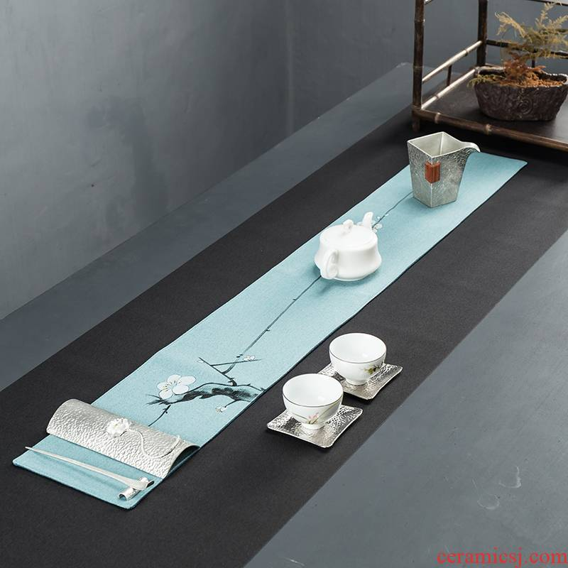 Building in cotton and linen tea mat bamboo curtain bamboo bamboo mat mat linen tea towel tea table flag tea Japanese in Taiwan