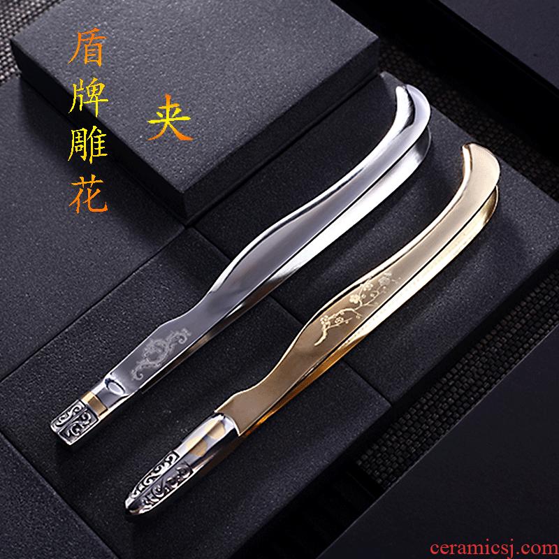 Morning high kunfu tea stainless steel ChaGa copper clip tea cup tea tea NieZi tweezers household tools