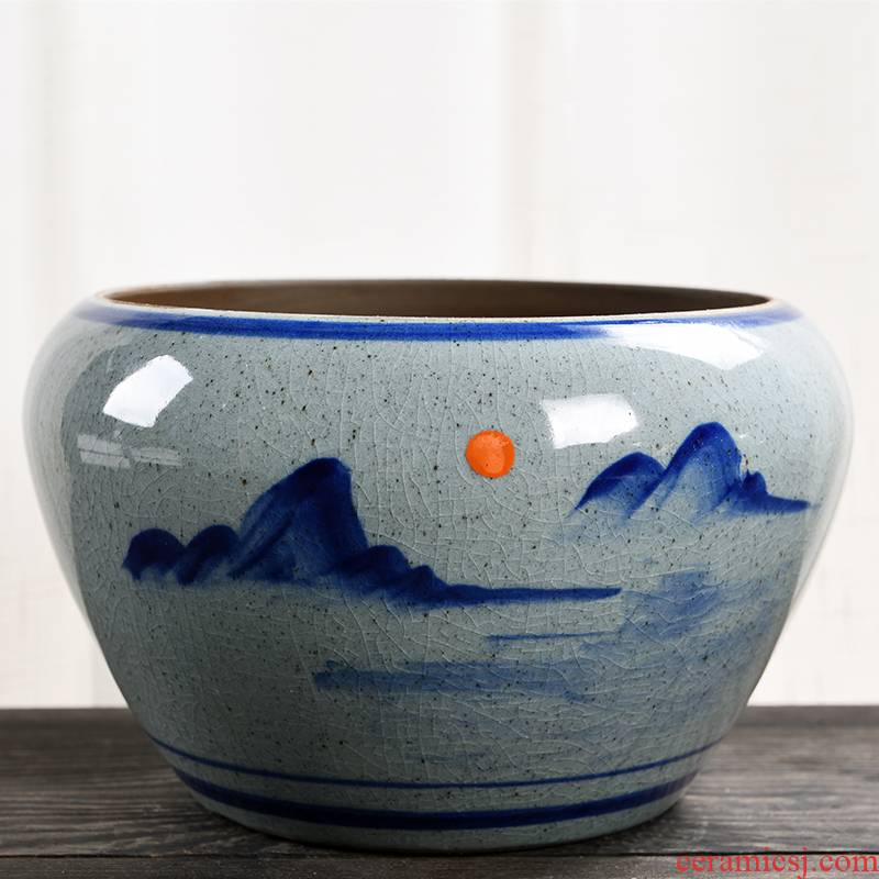 Flower pot to heavy large blue and white porcelain ceramic special offer a clearance Chinese wind creative household money plant bracketplant fleshy Flower pot