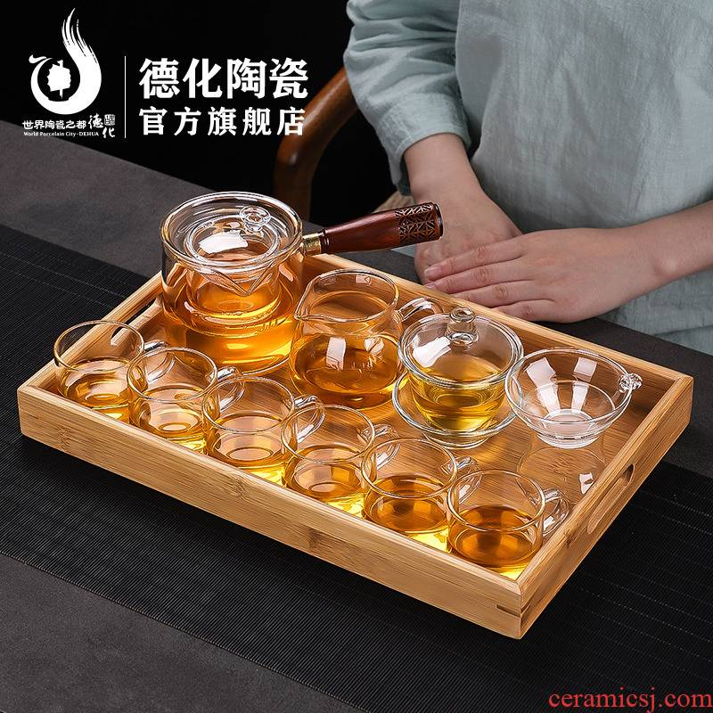 Transparent glass kung fu tea set home tea ware has solid wood tea table contracted melamine tray was cooking pot