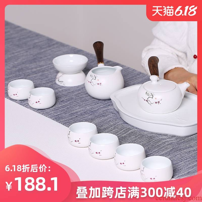 The Find mei creative ceramic kung fu tea set through the snow suit household up with white lid bowl set of tea cups gift boxes