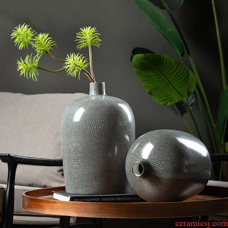 Light much creative modern furnishing articles circular pot - bellied vase household contracted sitting room ceramic flower arranging dried flower decorations
