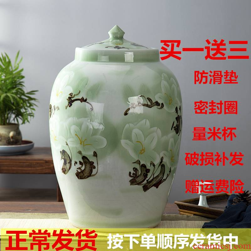 Jingdezhen ceramic barrel tank caddy fixings 50 kg 100 catties of household ceramics storage tank with cover sealed container