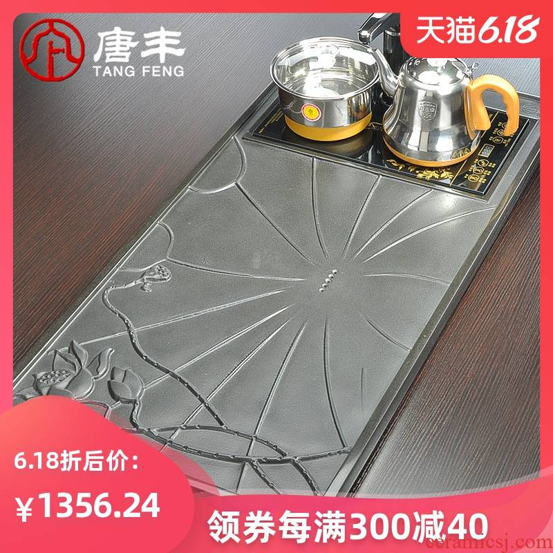 Tang Feng sharply stone tea tray was stone tea sets the whole piece of black stone, stone tea sea large four z and electric heating furnace
