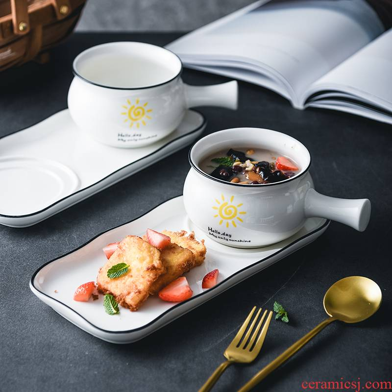 A food web celebrity breakfast bowl creative picking suit ceramic tableware Japanese dishes single lili home children