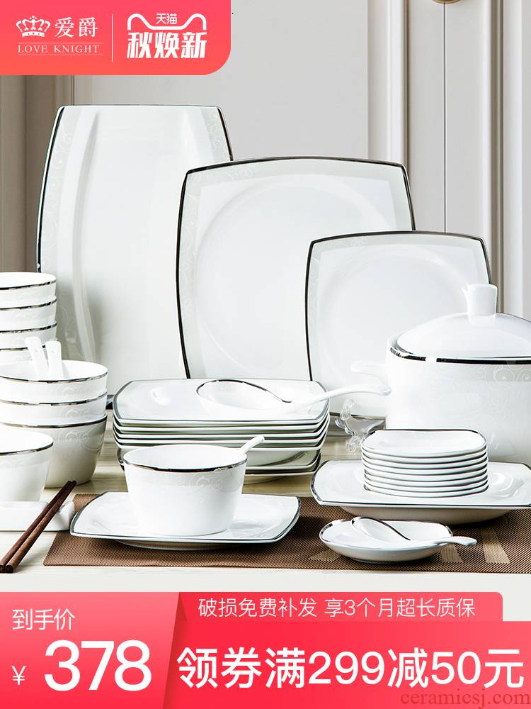 56 skull jingdezhen porcelain tableware suit contracted ceramic Korean dishes suit to use chopsticks dishes home plate