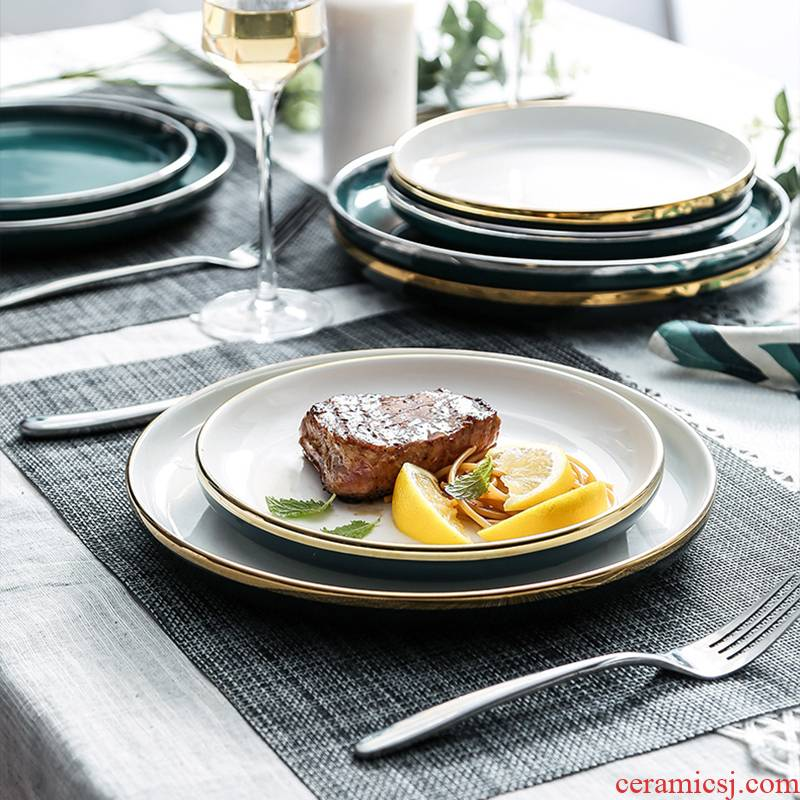 Steak knife and fork light tableware ceramic plates as west home to Philippines sets of key-2 luxury European Steak ins dinner plate plate