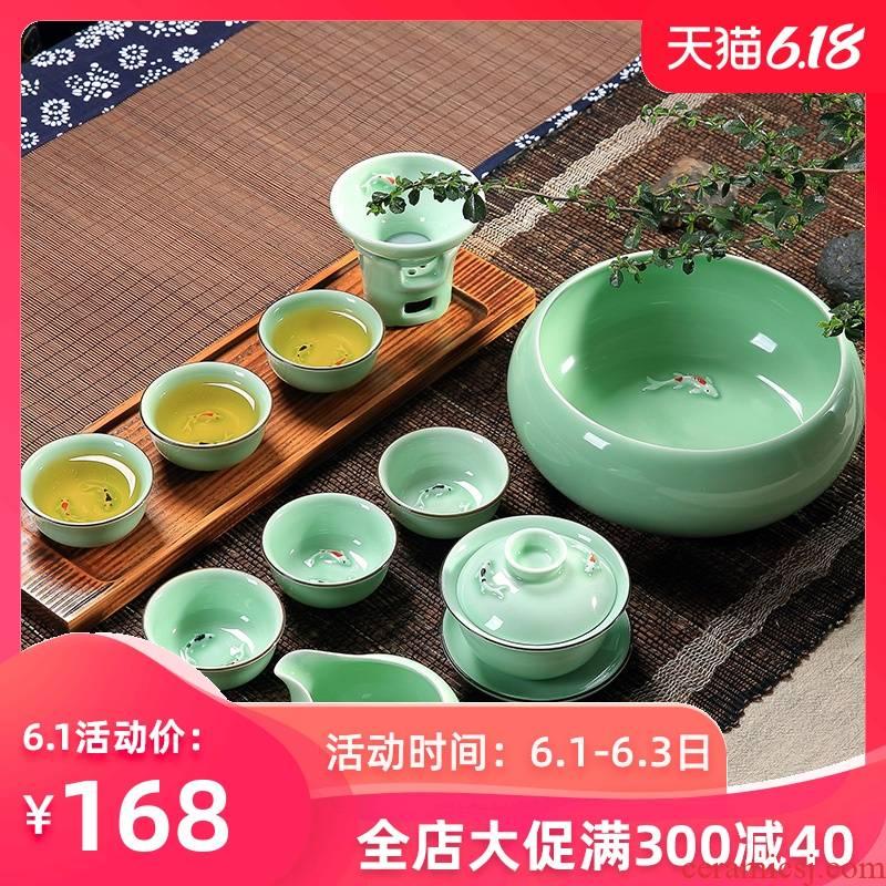 Household longquan celadon carp fish ceramic kunfu tea tea set the teapot tea cups with Chinese style