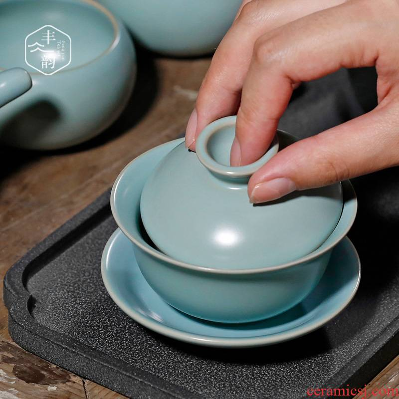 Hand your up tureen thickening heat - resistant ceramic cups large three to porcelain bowl tea bowl of kung fu tea set