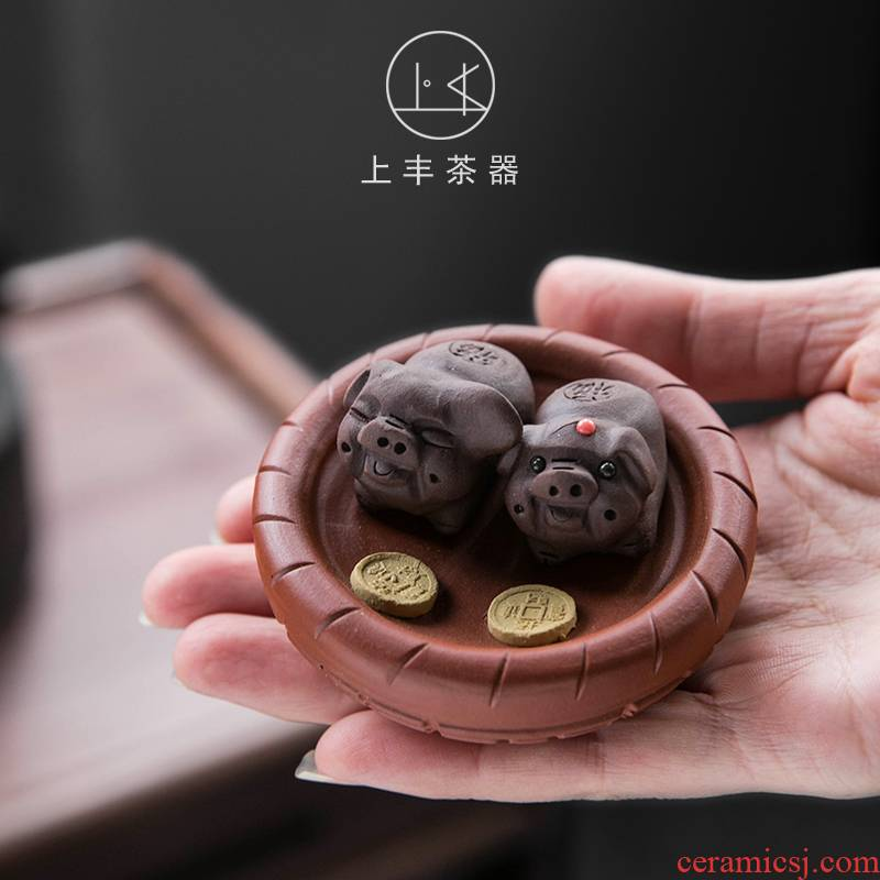 Pet feng yixing purple sand tea to keep on hand purple clay blessing pig lie prone to lie prone to the pig zhu mud fu tea play furnishing articles