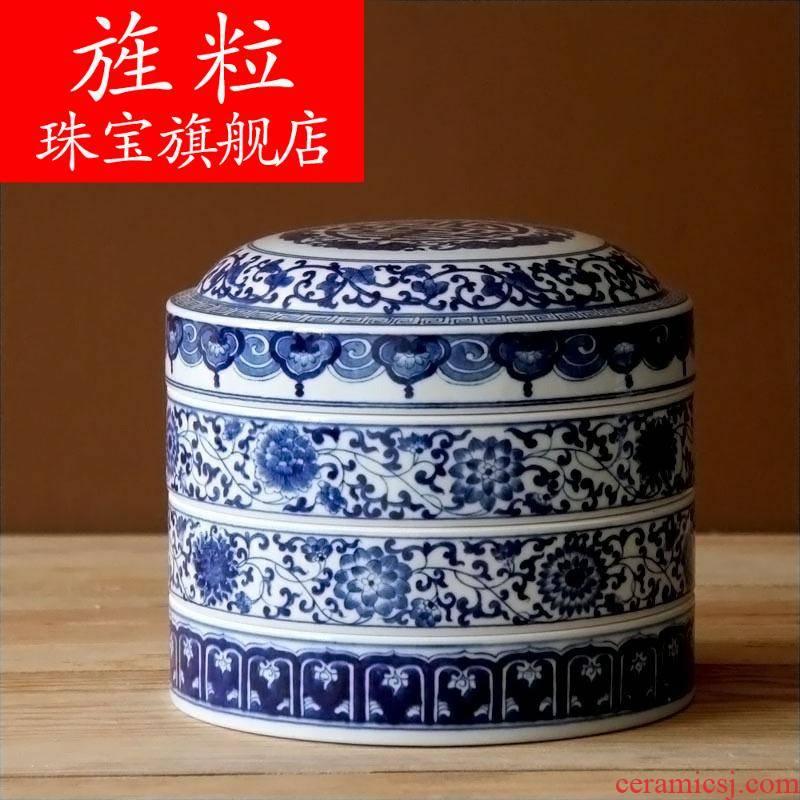 Az jingdezhen ceramic checking painting under the glaze color caddy fixings tea urn hand - made of blue and white porcelain tea pot of tea cake box