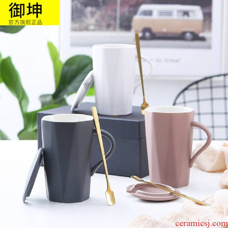 Keller with Creative ceramic cup with cover cup coffee spoon couples home han edition contracted mark cup cup female students