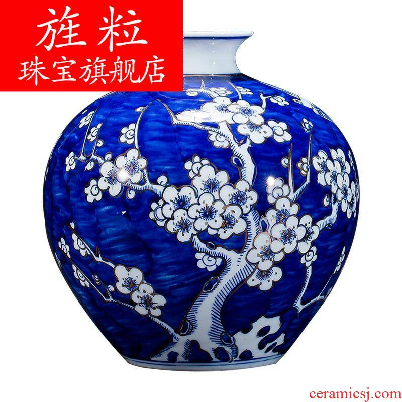 Q7 jingdezhen blue and white porcelain ceramics hand - made of ice MeiWen fuels the vase Chinese style living room furnishing articles rich ancient frame