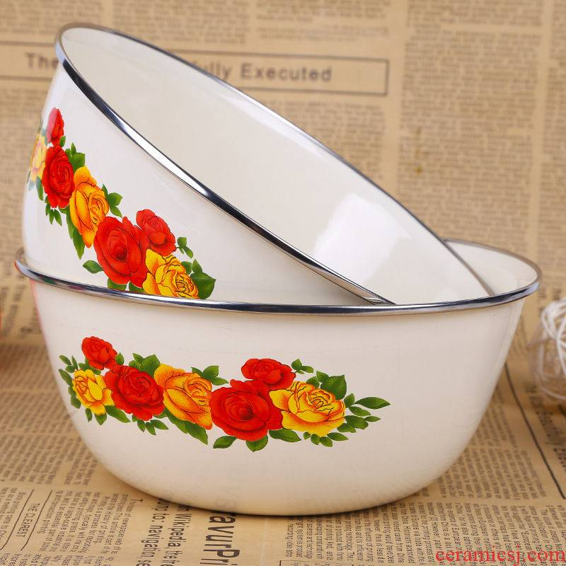 Enamel large mixing bowl with cover preservation box mercifully rainbow such to use as the pot soup bowl of fruits and vegetables salad Enamel pot