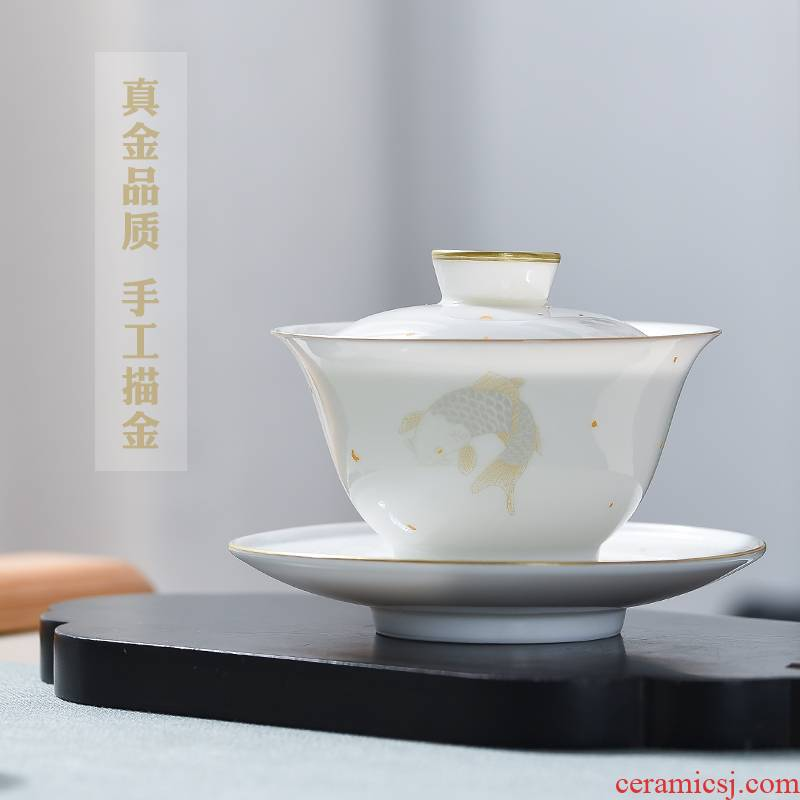 The Escape this hall pure manual white porcelain only three tureen tea cups suit of jingdezhen ceramic cups kung fu tea tea bowl