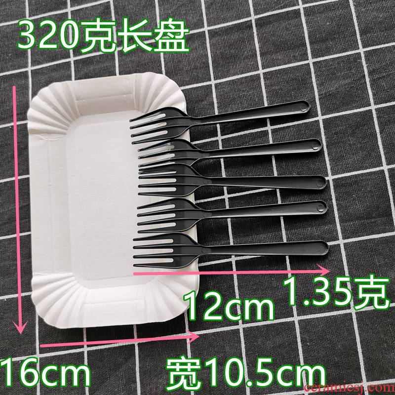 Paper knife and fork dish cake plate tableware birthday suit dish fork combined in one manual one - time 60 sets.