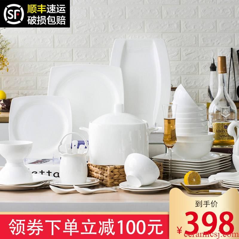 The dishes suit pure white jingdezhen ceramic tableware suit under The glaze color dishes home European contracted ipads porcelain bowl chopsticks