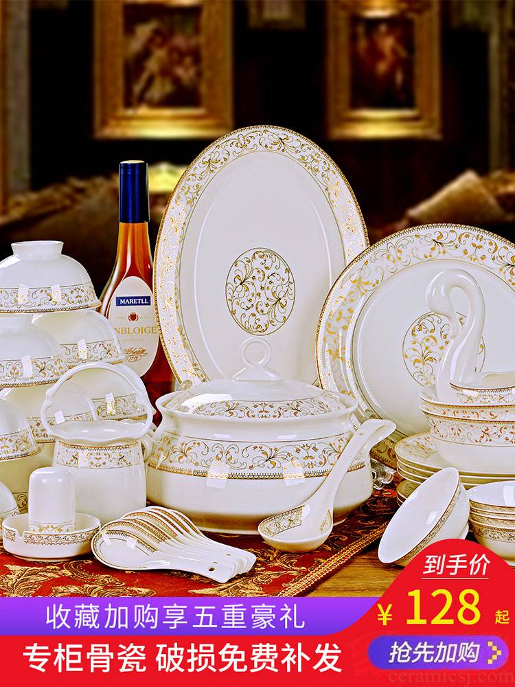Eating dishes suit household jingdezhen ceramics from yellow up phnom penh silverware bowls bowl chopsticks ipads plate combination of Chinese style