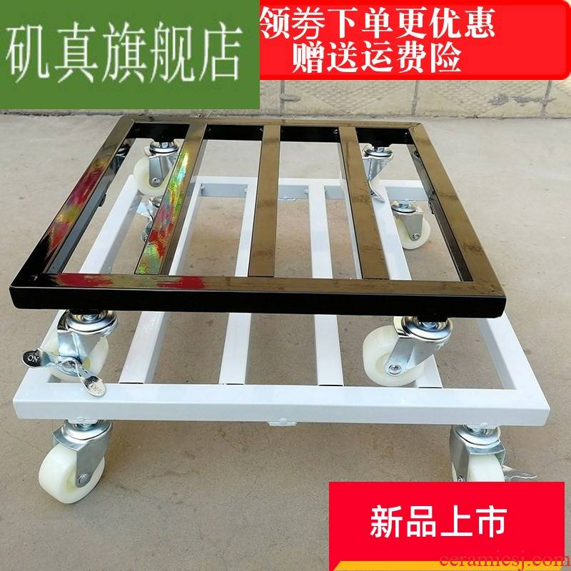 The Universal wheel mobile base tray square flowerpot roller with thick iron large custom caveat emptor