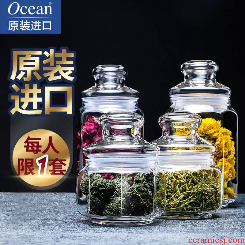 Ocean import small caddy fixings glass sealed as cans of food storage jar jar jar contained tanks