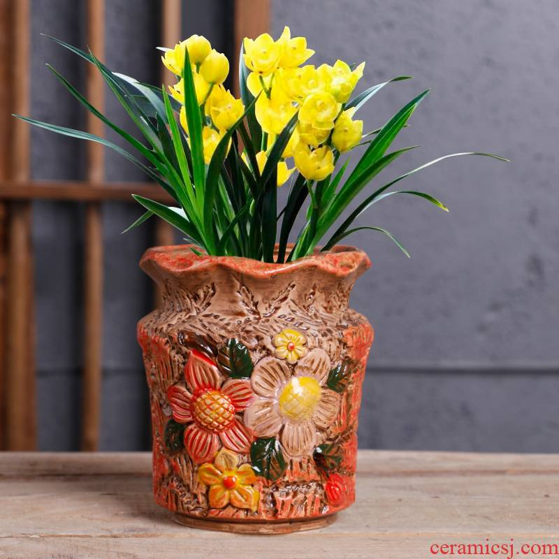 Fleshy flower pot special ceramic hand - made household the plants potted butterfly orchid clivia bracketplant flowerpot big Chinese wind