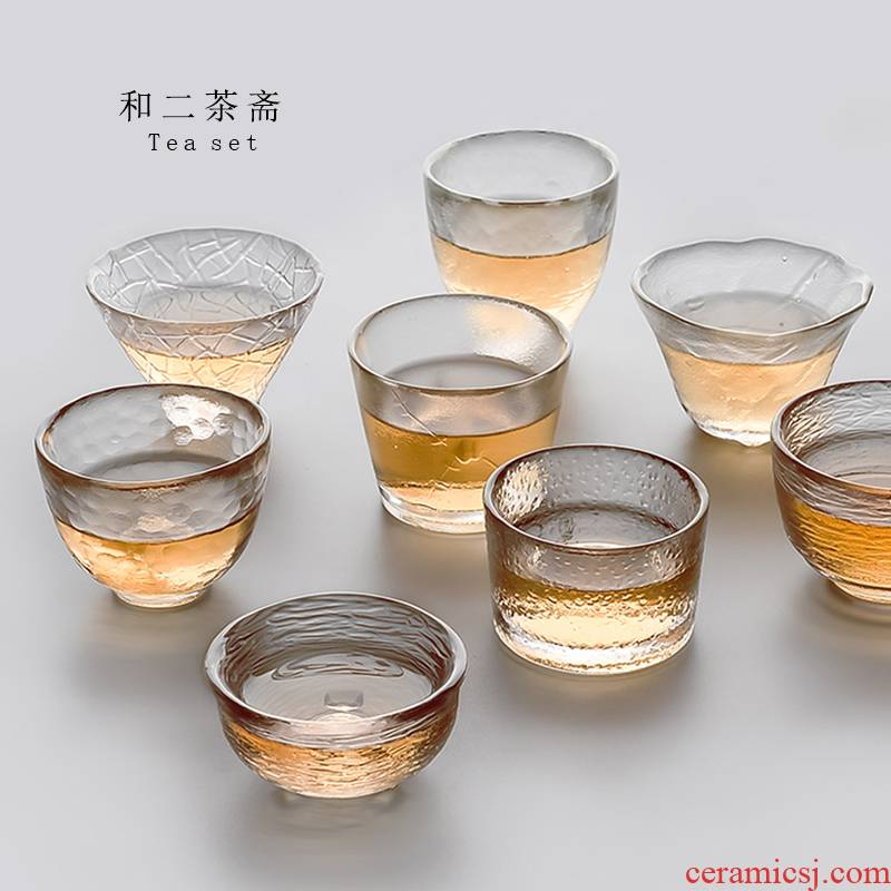 And two ChaZhai glass cups household suits for masters cup kung fu tea set creative Japanese transparent sample tea cup