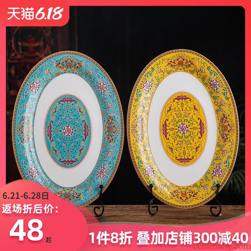 Ceramic household fish dish the new rectangle plate steamed fish dish large fish ltd. creative restaurant