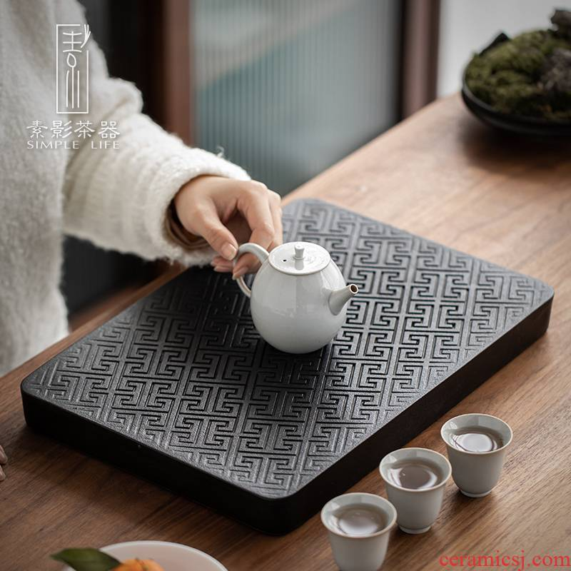 Element shadow back grain tea tray household contracted impounding water drainage ceramic dry tea big pot of retainer plate number