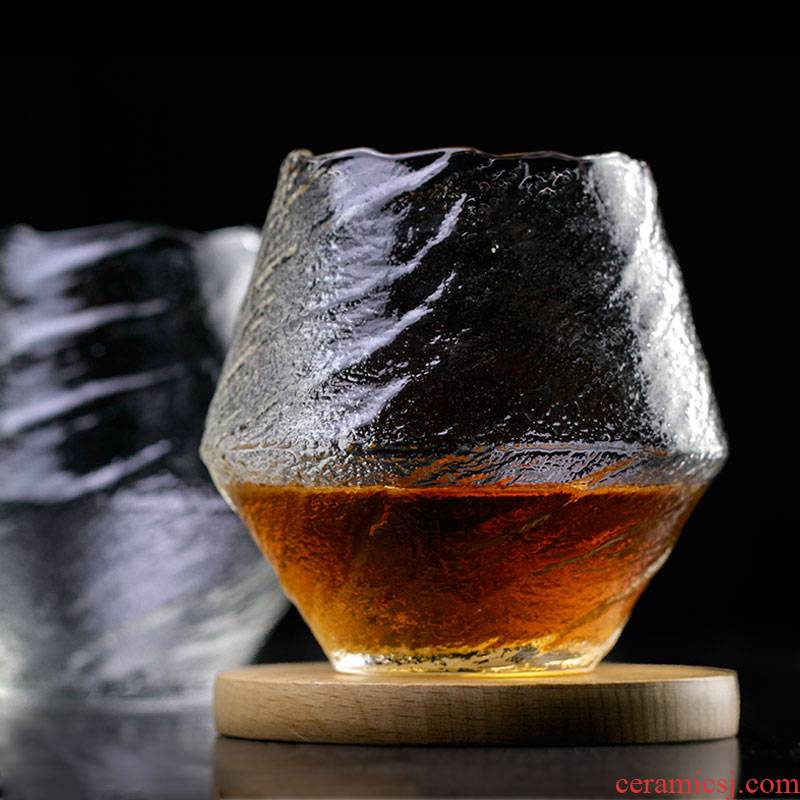 High - grade Japanese edo glass creative sakura snow and wind niche key-2 luxury single - layer glass cup kunfu tea cups