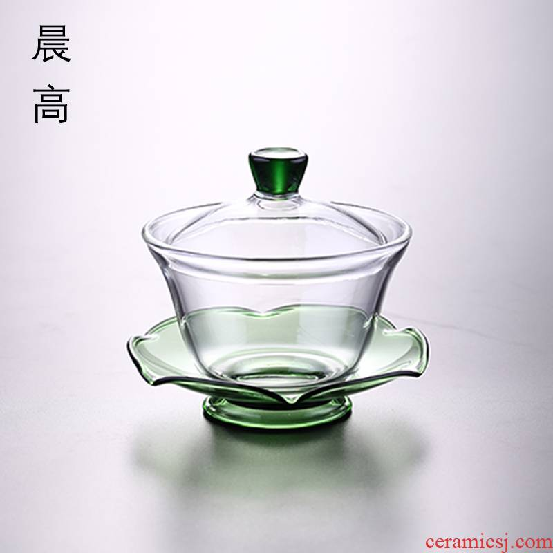 Morning three high heat - resistant glass to make tea tureen kung fu tea cups thickening finger bowl tea accessories