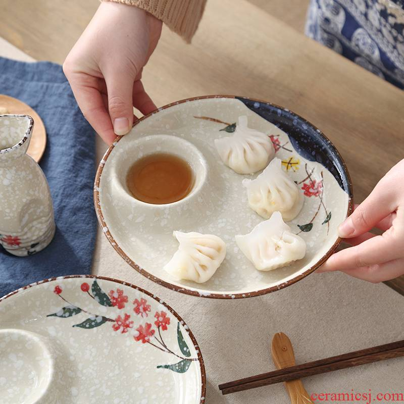 Japanese dumplings dribbling vinegar dish under glaze color porcelain tableware square creative cold dish dish dish dish dish