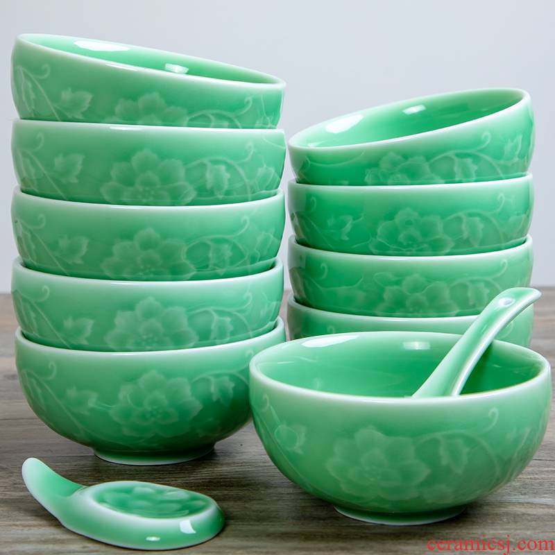 Longquan celadon bowls of household rice bowls set ceramic tableware Chinese trumpet large bowl of hot single protection, restoring ancient ways