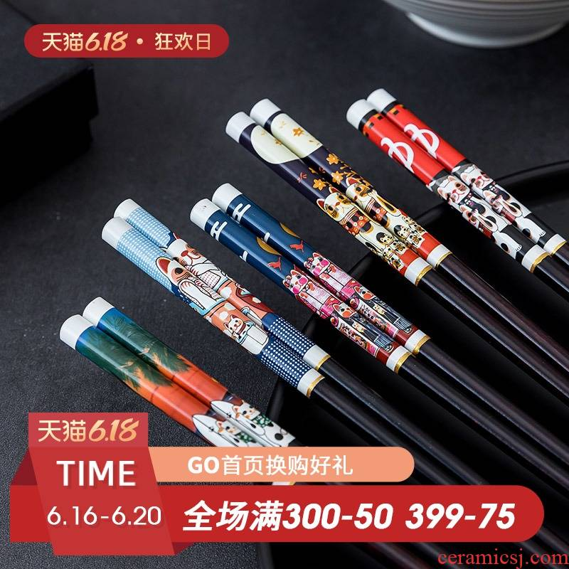 Fiji trent suit family points with Japanese real wood natural wooden chopsticks pointed mouldproof household utensils 10 pairs