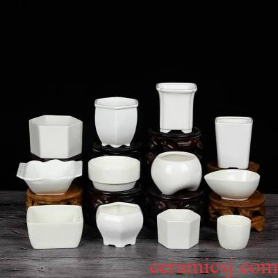 Ceramic pot fleshy the plants flower pot, square, triangle rectangle contracted white size micro landscape kind of flower pot
