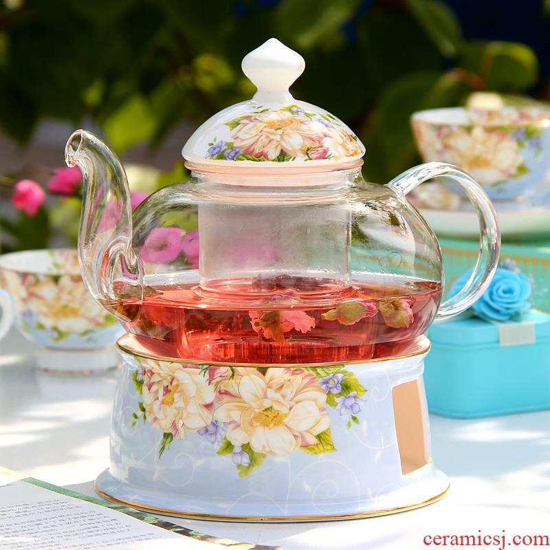Glass tea set suits for ipads porcelain flower teapot teacup heat - resistant ceramic tea filter kung fu tea stove heating candles