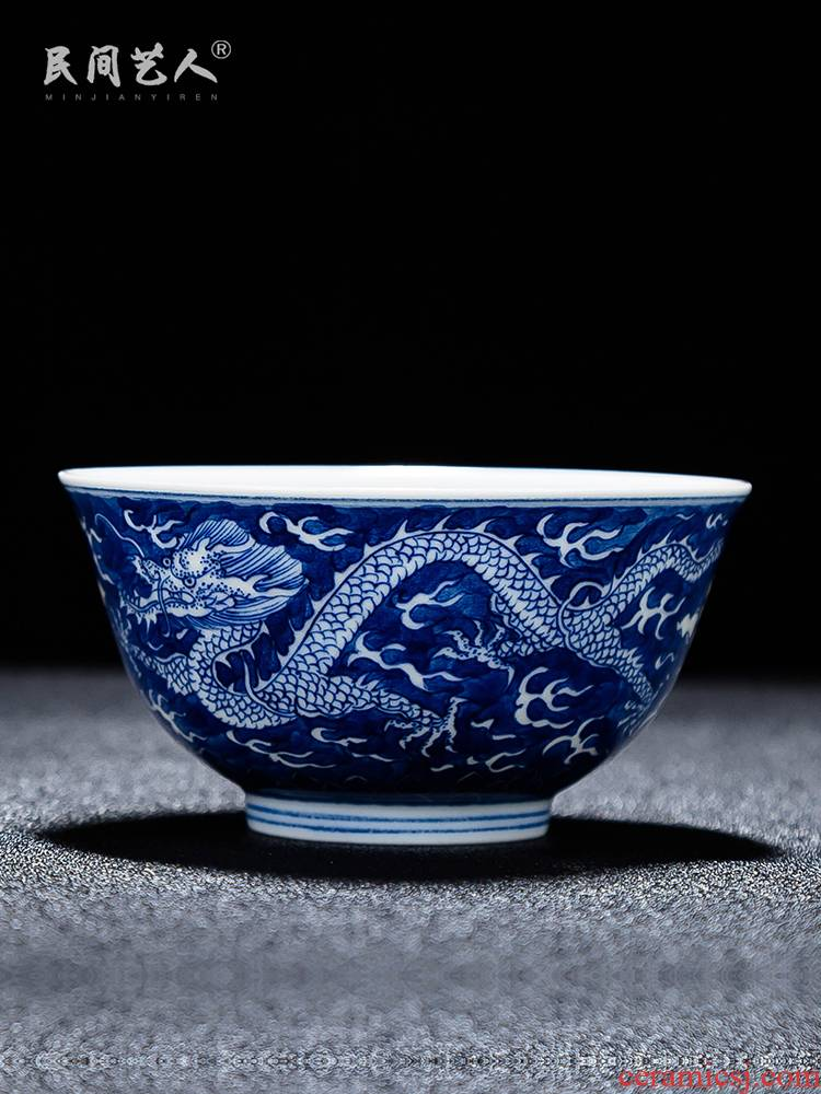 Folk artists to double dragon master of blue and white porcelain cup single hand made blue cup of jingdezhen ceramic high - end kung fu tea cups