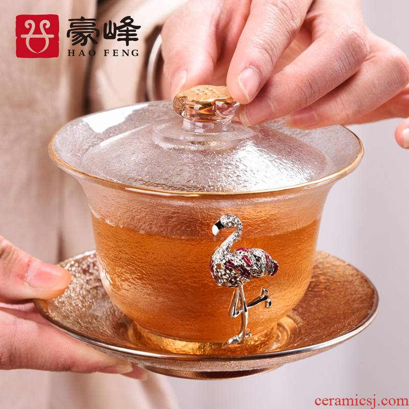 HaoFeng heat - resistant glass tureen large transparent kung fu tea set cover suit single thickening to use only three cups of tea