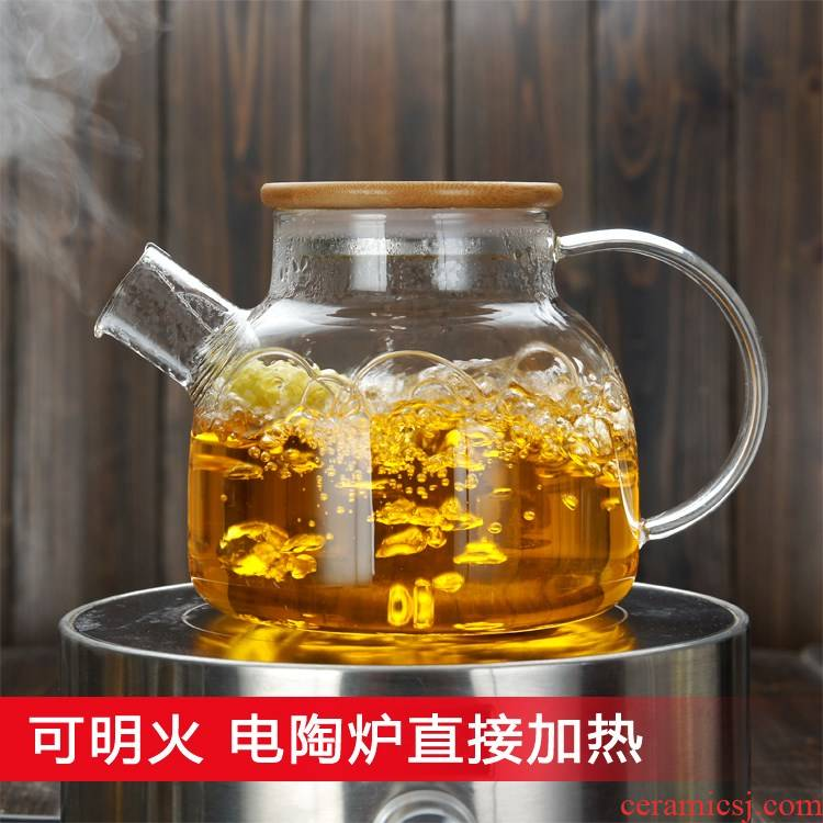 Induction cooker cool tea kettle boil tea container kettle large glass teapot easy lazy thickening heating