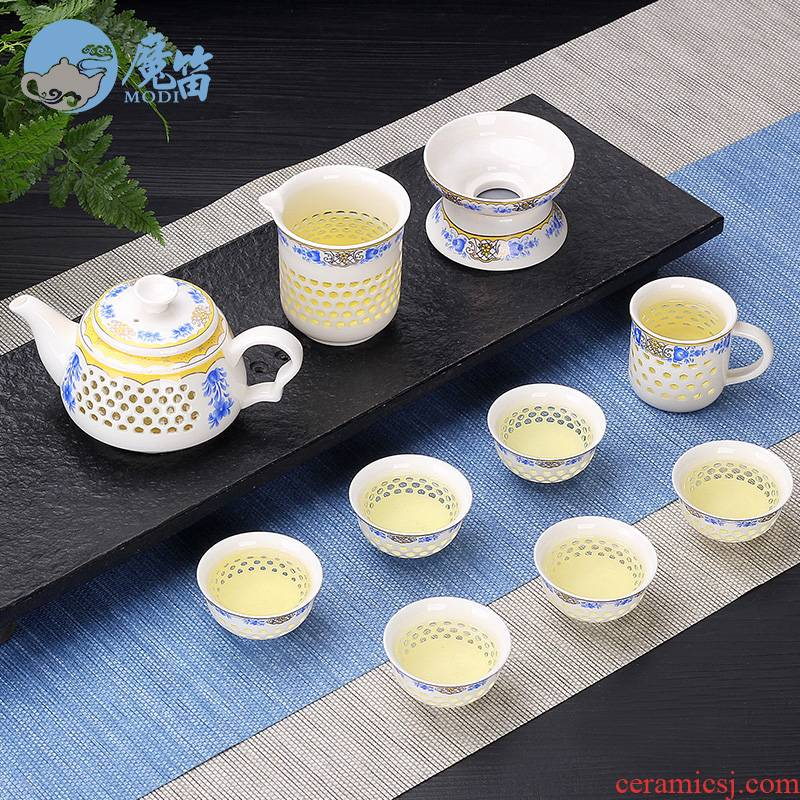 The flute creative household and exquisite ceramic kung fu tea set tea tray tureen teapot tea cup contracted with tea