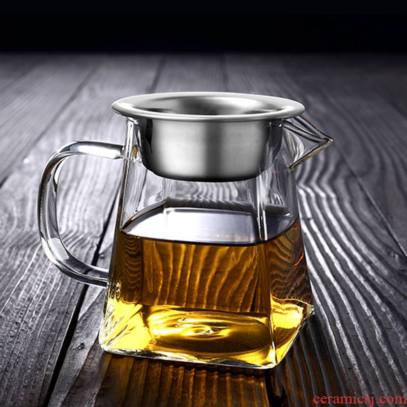 Morning high thickening glass) suit heat - resistant and fair keller cup points every tea tea is tea sea kung fu tea set