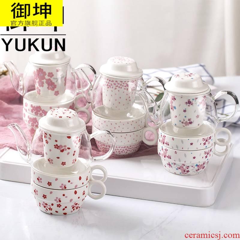 Royal of heat - resistant glass teapot stainless steel filter teapot teacup teapot tea tea set flowers and the plants