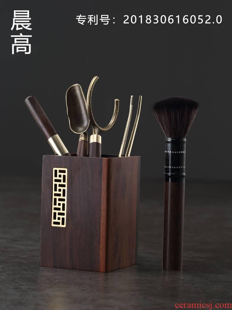 Morning high kung fu tea sets with parts of a complete set of tea six gentleman hua limu ChaGa ebony YangHuBi tea knife